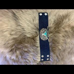 Jewelry - Longhorn/silver/turquoise/blue jean/snap bracelet